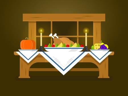 dinner table: Holiday table for Thanksgiving. Food dinner, celebration traditional, turkey and vegetable, pumpkin flat vector illustration