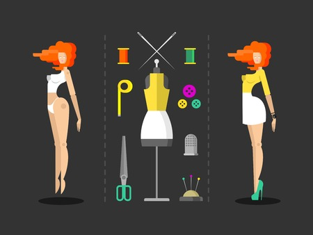 tailoring: Fashion and sewing hand work. Needle and bobbin, button and pin, thimble and tailoring, vector illustration Illustration