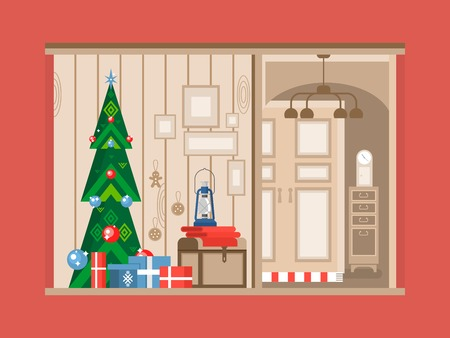 livingroom: Christmas tree interior. Holiday and gift, celebration xmas,  new year traditional flat vector illustration