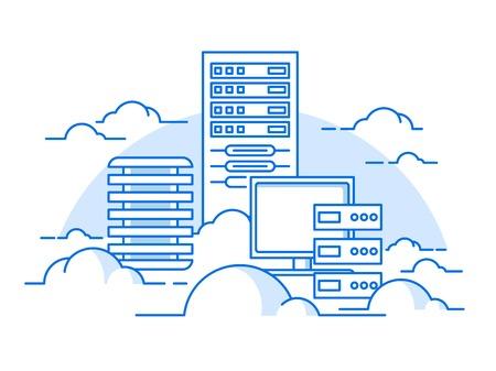 administracion de empresas: servicio en la nube. Internet y el ordenador, información de comunicación, servidor. ilustración vectorial plana Vectores