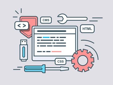 algorithm: Web programming script. Code program, script html, coding algorithm. Flat vector illustration Illustration