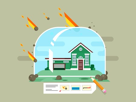 financial emergency: Property insurance concept Illustration
