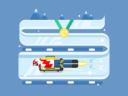 luge: Skeleton winter sports Illustration