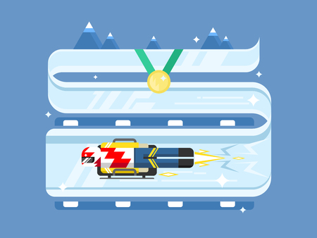 ice slide: Skeleton winter sports Illustration