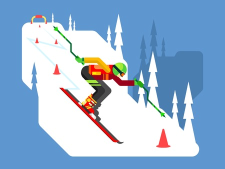 snow track: Slalom downhill skiing