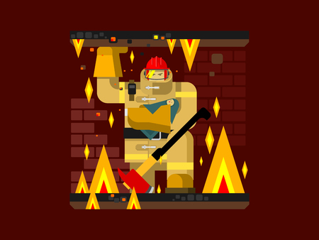 fire safety: Fire man character with baby