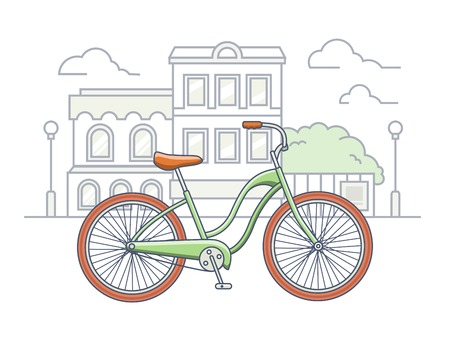 handlebar: Bicycle on the street illustration