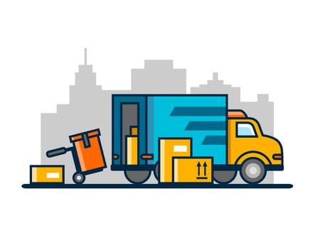 unloading: Unloading loading truck Illustration