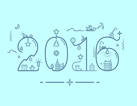 new year tree: illustration of New Year 2016 inscription with decoration in line style