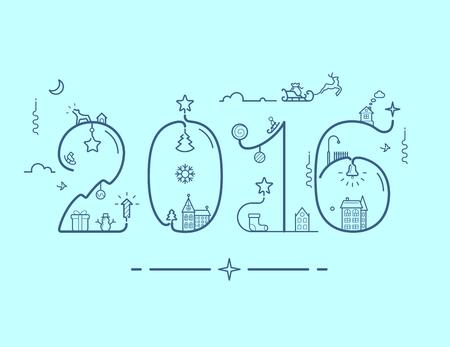 nowy rok: Ilustracja nowy rok 2016 z napisem dekoracji w stylu linii Ilustracja