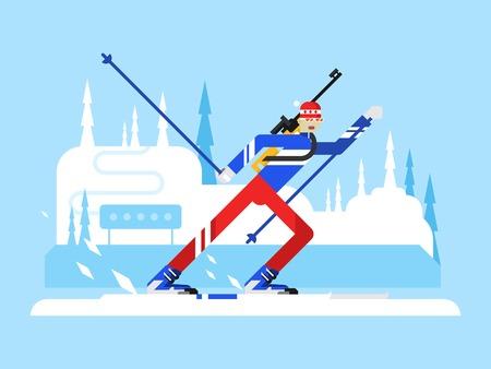 Sportsman biathlon character