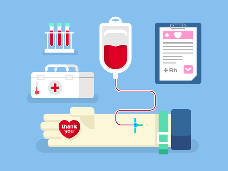 blood supply: Blood donation concept. Medicine care, aid and transfusion, flat vector illustration Illustration
