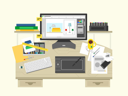 interior designer: Interior design workspace. Room and desk, office designer, place with computer, flat vector illustration