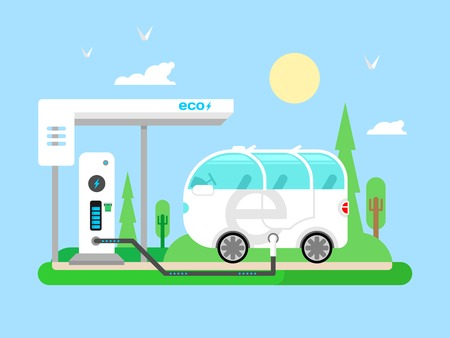 electric car: Electric vehicle charging. Transportation electricity, fuel power, vehicle technology, battery and utility, flat vector illustration