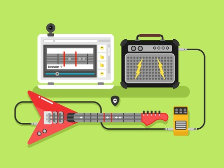 Learning guitar online. Musical guitar amplifier and pick, flat vector illustration
