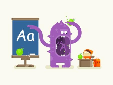 teacher desk: Cartoon monster teaches alphabet. School education, letter a, pupil and lesson, flat vector illustration Illustration