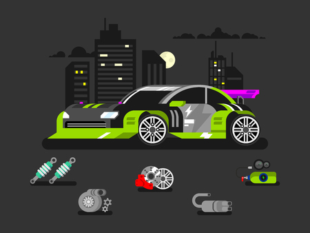 spoiler: Tuned machine nitrous oxide. Diagnostic engine car, transportation automotive, motor and vehicle, flat vector illustration