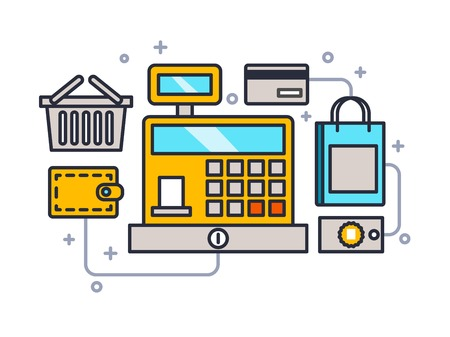 checkout line: Cash register line style. Money and retail, design machine, sale and currency, line vector illustration