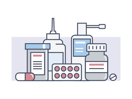emergency kit: Set medical drugs. Medicine and health, pill and aid, pack or packaging tablet, drugstore line vector illustration