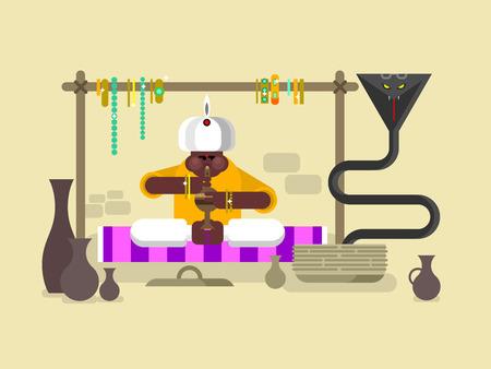 charmer: Cobra dances under flute. Charmer music, traditional asia man, animal poisonous, flat vector illustration Illustration