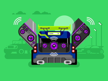stereo subwoofer: Car audio system. Music automobile, sound technology, stereo power speaker, flat vector illustration Illustration
