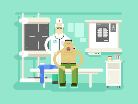 docs: Patient and doctor character. Health care, hospital medical, flat vector illustration