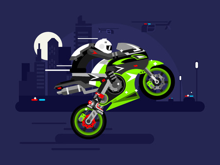 motorbike: High-speed motorcycle rides on one wheel. Person in helmet, bike and extreme, danger and risk, vector illustration