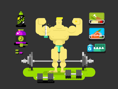 building contractor cartoon: Bodybuilder man character. Muscle strong. Flat vector illustration
