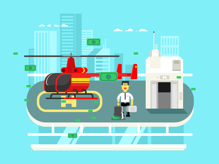 helicopter: Helicopter on roof with man. Transportation aviation, helipad rooftop, flat vector illustration