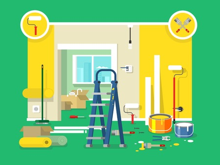 renovation property: Renovation apartment flat design. Room in home, new interior. Vector illustration Illustration