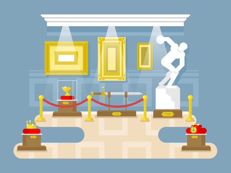 art museum: Museum flat design. Exhibition sculpture artifact sword picture crown, vector illustration