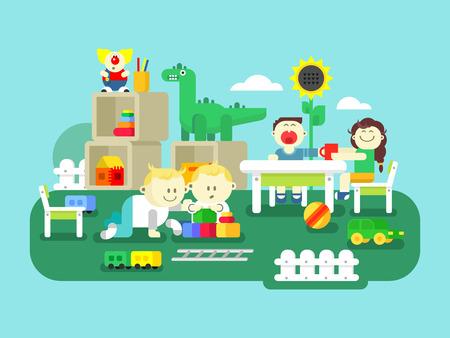 niño preescolar: diseño plano jardín de infancia. de dibujos animados para niños, niño de edad preescolar y niña, ilustración vectorial