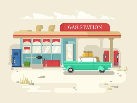 Stantion gas diseño plano retro. Surtidor de gasolina, el servicio y el combustible, ilustración vectorial Foto de archivo - 49870806