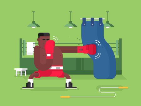 hombre fuerte: Personaje de dibujos animados boxeador. El boxeo deporte, lucha el hombre, la competencia y el ganador, ilustración vectorial plana