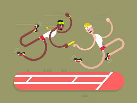 win: Relay athletics design. Competition and runner, action sprint team, flat vector illustration