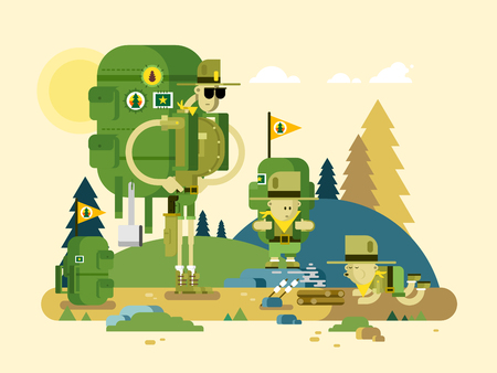Group scout cartoon. Activity tourism, children adventure, childhood outdoor, flat vector illustration