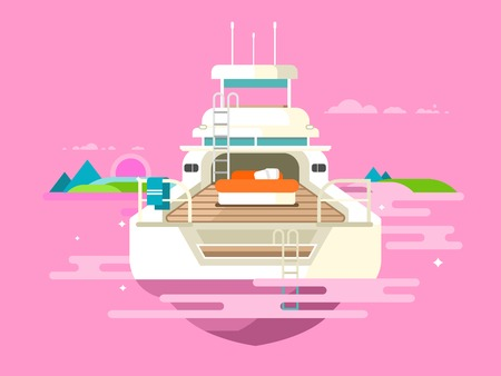 vessel: Yacht flat design. Ship travel, boat vessel transport, holiday transportation, flat vector illustration