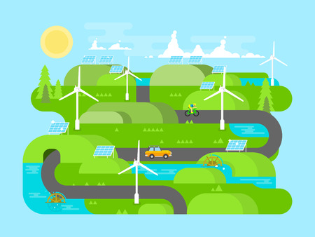 natural resource: Green energy flat design. Ecology, and environment, water and natural resource. Flat vector illustration