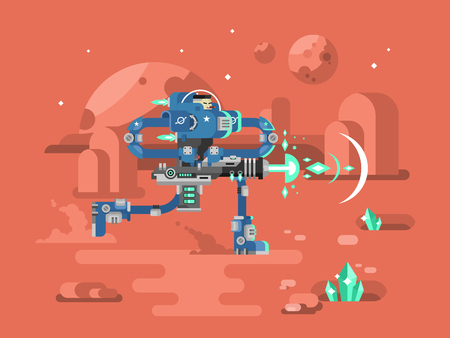 soldado: Starship troopers de caracteres. Guerra de las Galaxias, soldado tormenta con el arma, el astronauta en el casco, ilustración vectorial plana