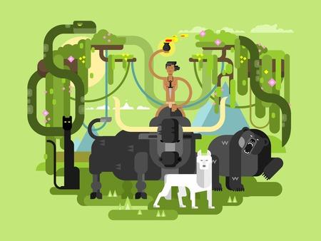 nude outdoors: Character Mowgli. Wild man person cartoon, wildlife bull bear and wolf. Flat vector illustration Illustration