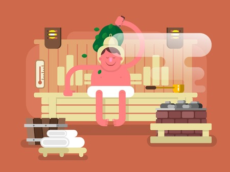 sauna: Man in the sauna steam. Spa relaxation, care body, relax and heat, wellness flat illustration