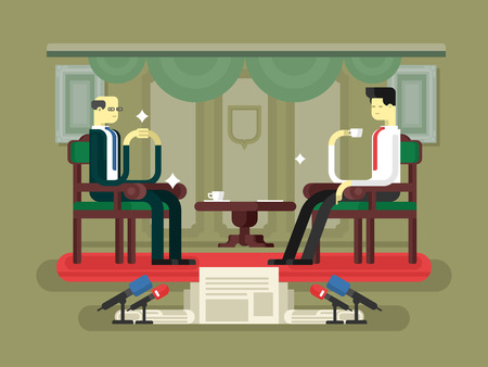 governor: Politician interview flat design. Media tv, journalist or reporter, communication and government, flat illustration