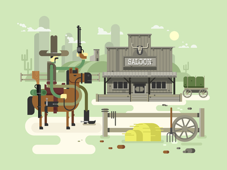 western town: Wild west saloon. Cowboy and western, old building town, sheriff flat illustration Illustration