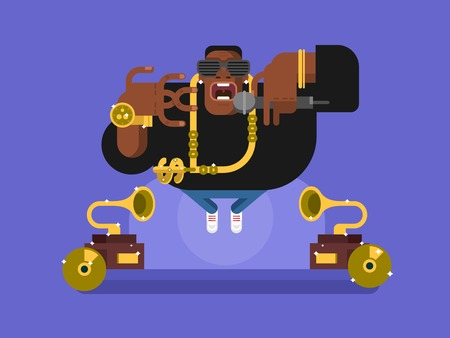 Black rapper character. Person african, music and guy with microphone, singer hip-hop, flat illustration