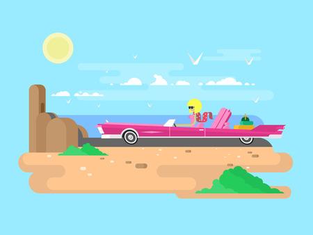 Blondynka w kabriolet na wakacje. Kobieta w samochodzie, kierowca auto, dziewczynka w okularach, płaskie ilustracji Ilustracje wektorowe