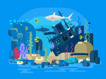 cartoon shark: Nave hundida bajo el agua. arrecife de mar y peces, la naturaleza bajo el agua, ilustraci�n plana Vectores