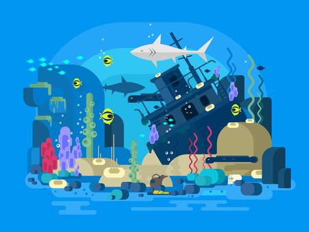 sea water: Sunken ship under water. Sea reef and fish, underwater nature, flat illustration