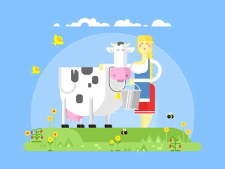 milker: Cartoon character cow and milkmaid. Milk and dairy, farmer agriculture, animal farm, farming woman, flat illustration Illustration