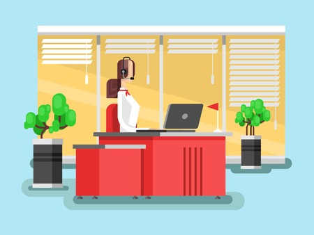 support agent: Operator in a call center. Support communication service, phone agent woman. illustration Illustration