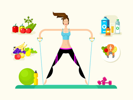 nutrition health: Woman healthy llifestyle. Sport fitness, gym and care, food and drink. Vector illustration